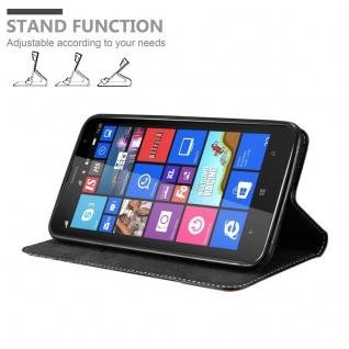 Cadorabo Hülle für Nokia Lumia 1320 in SCHWARZ BRAUN - Handyhülle mit Magnetverschluss, Standfunktion und Kartenfach - Case Cover Schutzhülle Etui Tasche Book Klapp Style - Vorschau 4