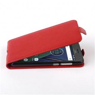 Cadorabo Hülle für Motorola MOTO G5 PLUS - Hülle in INFERNO ROT ? Handyhülle aus strukturiertem Kunstleder im Flip Design - Case Cover Schutzhülle Etui Tasche