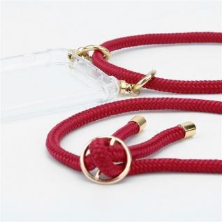 Cadorabo Handy Kette für Honor 20e in RUBIN ROT Silikon Necklace Umhänge Hülle mit Gold Ringen, Kordel Band Schnur und abnehmbarem Etui Schutzhülle - Vorschau 2
