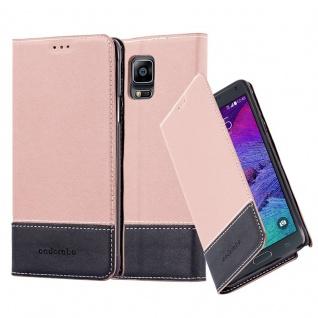 Cadorabo Hülle für Samsung Galaxy NOTE 4 in GOLD SCHWARZ Handyhülle mit Magnetverschluss, Standfunktion und Kartenfach Case Cover Schutzhülle Etui Tasche Book Klapp Style
