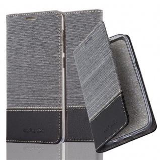 Cadorabo Hülle für HTC Desire 10 LIFESTYLE / Desire 825 in GRAU SCHWARZ - Handyhülle mit Magnetverschluss, Standfunktion und Kartenfach - Case Cover Schutzhülle Etui Tasche Book Klapp Style