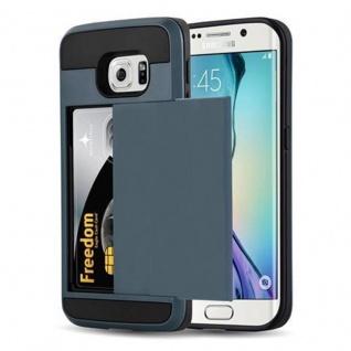 Cadorabo Hülle für Samsung Galaxy S6 EDGE - Hülle in TRESOR NAVY BLAU - Handyhülle mit verstecktem Kartenfach - Hard Case TPU Silikon Schutzhülle für Hybrid Cover