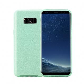 Cadorabo Hülle für Samsung Galaxy S8 - Hülle in STERNENSTAUB TÜRKIS - TPU Silikon und Hardcase Handyhülle im Glitzer Design - Hard Case TPU Silikon Schutzhülle