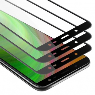 Cadorabo 3x Vollbild Panzer Folie für Samsung Galaxy J6 2018 - Schutzfolie in TRANSPARENT mit SCHWARZ - 3er Pack Gehärtetes (Tempered) Display-Schutzglas in 9H Härte mit 3D Touch
