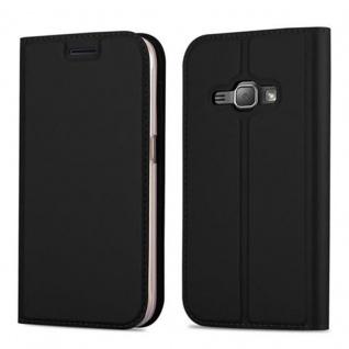 Cadorabo Hülle für Samsung Galaxy J1 2016 in CLASSY SCHWARZ - Handyhülle mit Magnetverschluss, Standfunktion und Kartenfach - Case Cover Schutzhülle Etui Tasche Book Klapp Style
