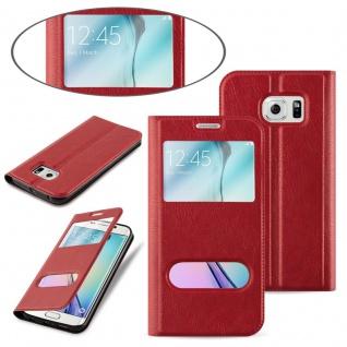 Cadorabo Hülle für Samsung Galaxy S6 EDGE PLUS in SAFRAN ROT - Handyhülle mit Magnetverschluss, Standfunktion und 2 Sichtfenstern - Case Cover Schutzhülle Etui Tasche Book Klapp Style - Vorschau 3