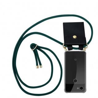 Cadorabo Handy Kette für Google Pixel 3a XL in ARMEE GRÜN Silikon Necklace Umhänge Hülle mit Gold Ringen, Kordel Band Schnur und abnehmbarem Etui Schutzhülle