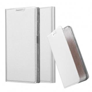 Cadorabo Hülle für Sony Xperia XA1 PLUS in CLASSY SILBER - Handyhülle mit Magnetverschluss, Standfunktion und Kartenfach - Case Cover Schutzhülle Etui Tasche Book Klapp Style