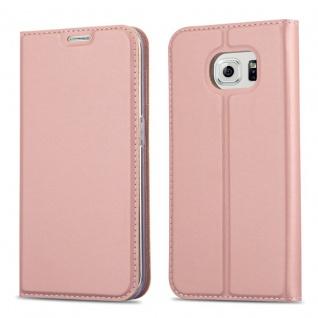 Cadorabo Hülle für Samsung Galaxy S6 EDGE PLUS in CLASSY ROSÉ GOLD - Handyhülle mit Magnetverschluss, Standfunktion und Kartenfach - Case Cover Schutzhülle Etui Tasche Book Klapp Style