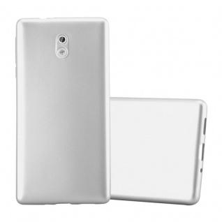 Cadorabo Hülle für Nokia 3 2017 in METALLIC SILBER - Handyhülle aus flexiblem TPU Silikon - Silikonhülle Schutzhülle Ultra Slim Soft Back Cover Case Bumper