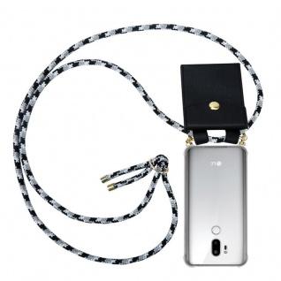 Cadorabo Handy Kette für LG G7 ThinQ in SCHWARZ CAMOUFLAGE - Silikon Necklace Umhänge Hülle mit Gold Ringen, Kordel Band Schnur und abnehmbarem Etui ? Schutzhülle