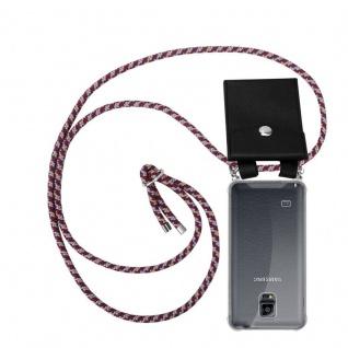 Cadorabo Handy Kette für Samsung Galaxy NOTE 4 in ROT GELB WEISS - Silikon Necklace Umhänge Hülle mit Silber Ringen, Kordel Band Schnur und abnehmbarem Etui - Schutzhülle