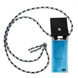 Cadorabo Handy Kette für Oppo A12 in SCHWARZ CAMOUFLAGE Silikon Necklace Umhänge Hülle mit Silber Ringen, Kordel Band Schnur und abnehmbarem Etui Schutzhülle