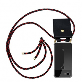 Cadorabo Handy Kette für Google Pixel 3a in SCHWARZ ROT - Silikon Necklace Umhänge Hülle mit Gold Ringen, Kordel Band Schnur und abnehmbarem Etui ? Schutzhülle
