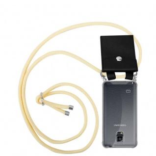 Cadorabo Handy Kette für Samsung Galaxy NOTE 4 in CREME BEIGE - Silikon Necklace Umhänge Hülle mit Silber Ringen, Kordel Band Schnur und abnehmbarem Etui - Schutzhülle