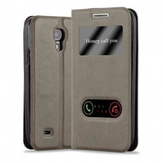 Cadorabo Hülle für Samsung Galaxy S4 in STEIN BRAUN - Handyhülle mit Magnetverschluss, Standfunktion und 2 Sichtfenstern - Case Cover Schutzhülle Etui Tasche Book Klapp Style