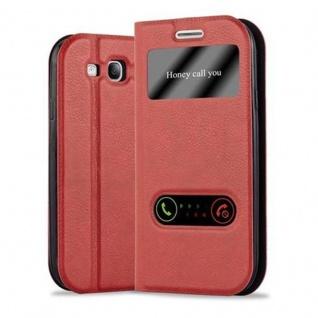 Cadorabo Hülle für Samsung Galaxy S3 / S3 NEO in SAFRAN ROT - Handyhülle mit Magnetverschluss, Standfunktion und 2 Sichtfenstern - Case Cover Schutzhülle Etui Tasche Book Klapp Style