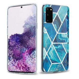 Cadorabo Hülle für Samsung Galaxy S20 Hülle in Blaue Welle Marmor No.13 Handyhülle aus TPU Silikon mit Muster Mosaik Silikonhülle Schutzhülle Ultra Slim Back Cover Case Bumper