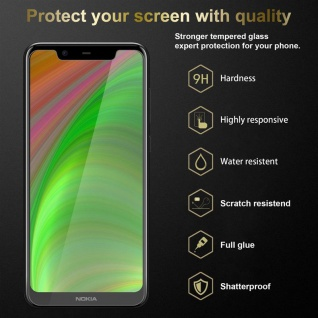 Cadorabo 3x Panzer Folie für Nokia 5.1 PLUS / X5 - Schutzfolie in KRISTALL KLAR - 3er Pack Gehärtetes (Tempered) Display-Schutzglas in 9H Härte mit 3D Touch Kompatibilität - Vorschau 2