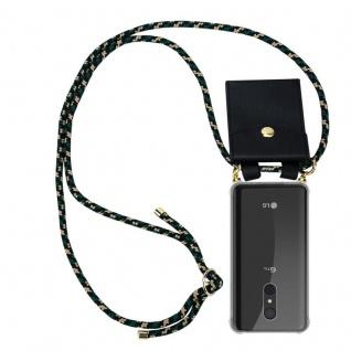 Cadorabo Handy Kette für LG Q9 in CAMOUFLAGE - Silikon Necklace Umhänge Hülle mit Gold Ringen, Kordel Band Schnur und abnehmbarem Etui ? Schutzhülle