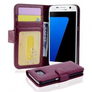 Cadorabo Hülle für Samsung Galaxy S7 in BORDEAUX LILA Handyhülle mit Magnetverschluss und 3 Kartenfächern Case Cover Schutzhülle Etui Tasche Book Klapp Style