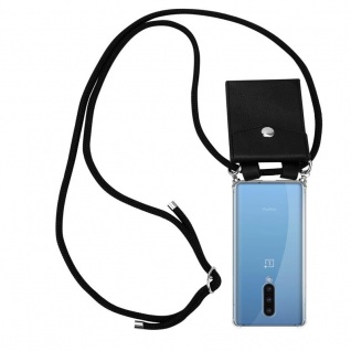 Cadorabo Handy Kette für Oneplus 8 in SCHWARZ Silikon Necklace Umhänge Hülle mit Silber Ringen, Kordel Band Schnur und abnehmbarem Etui Schutzhülle