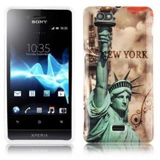 Cadorabo - Hard Cover für Sony Xperia M - Case Cover Schutzhülle Bumper im Design: NEW YORK - FREIHEITSSTATUE
