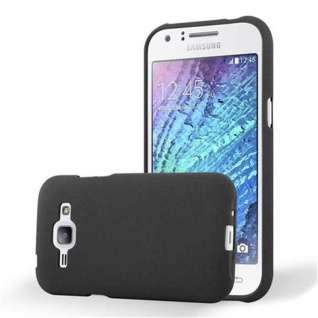 Cadorabo Hülle für Samsung Galaxy J1 2015 in FROST SCHWARZ - Handyhülle aus flexiblem TPU Silikon - Silikonhülle Schutzhülle Ultra Slim Soft Back Cover Case Bumper