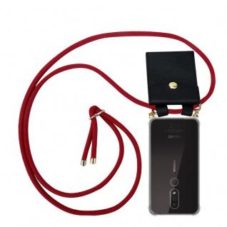 Cadorabo Handy Kette für Nokia 4.2 in RUBIN ROT Silikon Necklace Umhänge Hülle mit Gold Ringen, Kordel Band Schnur und abnehmbarem Etui Schutzhülle