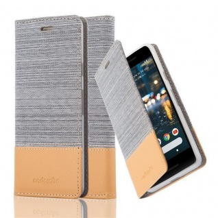 Cadorabo Hülle für Google Pixel 2 in HELL GRAU BRAUN - Handyhülle mit Magnetverschluss, Standfunktion und Kartenfach - Case Cover Schutzhülle Etui Tasche Book Klapp Style