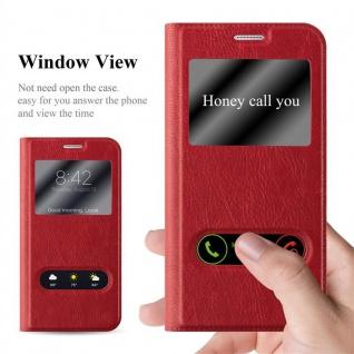 Cadorabo Hülle für Samsung Galaxy NOTE 5 in SAFRAN ROT - Handyhülle mit Magnetverschluss, Standfunktion und 2 Sichtfenstern - Case Cover Schutzhülle Etui Tasche Book Klapp Style - Vorschau 2