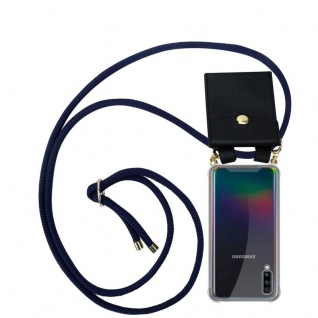 Cadorabo Handy Kette für Samsung Galaxy A70 in TIEF BLAU - Silikon Necklace Umhänge Hülle mit Gold Ringen, Kordel Band Schnur und abnehmbarem Etui ? Schutzhülle