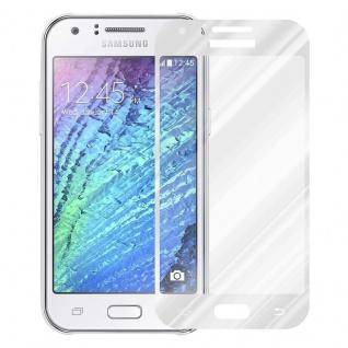 Cadorabo Vollbild Panzer Folie für Samsung Galaxy J1 2015 - Schutzfolie in TRANSPARENT mit WEISS - Gehärtetes (Tempered) Display-Schutzglas in 9H Härte mit 3D Touch Kompatibilität - Vorschau 2