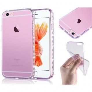 Cadorabo Hülle für Apple iPhone 6 / iPhone 6S - Hülle in TRANSPARENT LILA ? Handyhülle aus TPU Silikon im Strass Design - Ultra Slim Soft Backcover Case Bumper