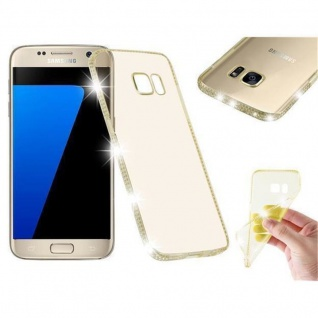 Cadorabo Hülle für Samsung Galaxy S7 - Hülle in TRANSPARENT GOLD ? Handyhülle aus TPU Silikon im Strass Design - Ultra Slim Soft Backcover Case Bumper