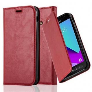Cadorabo Hülle für Samsung Galaxy XCover 4 in APFEL ROT - Handyhülle mit Magnetverschluss, Standfunktion und Kartenfach - Case Cover Schutzhülle Etui Tasche Book Klapp Style