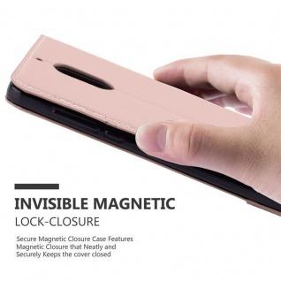 Cadorabo Hülle für Nokia 6 2017 in GOLD SCHWARZ ? Handyhülle mit Magnetverschluss, Standfunktion und Kartenfach ? Case Cover Schutzhülle Etui Tasche Book Klapp Style - Vorschau 4