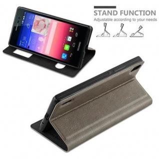 Cadorabo Hülle für Huawei P7 in STEIN BRAUN - Handyhülle mit Magnetverschluss, Standfunktion und 2 Sichtfenstern - Case Cover Schutzhülle Etui Tasche Book Klapp Style - Vorschau 4