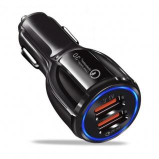 Cadorabo KFZ Ladegerät in GLANZ SCHWARZ - 2-Port Dual USB Ladeadapter 3.0 Quick Charge mit 2 Anschlüssen - Universal Auto Schnellladegerät für Smartphones, Tablets, Navi etc.