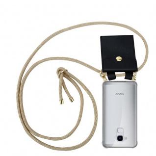 Cadorabo Handy Kette für Honor 5C in GLÄNZEND BRAUN Silikon Necklace Umhänge Hülle mit Gold Ringen, Kordel Band Schnur und abnehmbarem Etui Schutzhülle