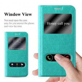 Cadorabo Hülle für Samsung Galaxy S6 in MINT TÜRKIS - Handyhülle mit Magnetverschluss, Standfunktion und 2 Sichtfenstern - Case Cover Schutzhülle Etui Tasche Book Klapp Style - Vorschau 2
