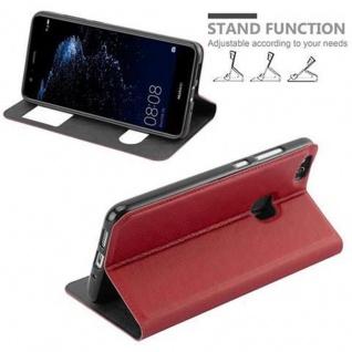 Cadorabo Hülle für Huawei P10 LITE in SAFRAN ROT - Handyhülle mit Magnetverschluss, Standfunktion und 2 Sichtfenstern - Case Cover Schutzhülle Etui Tasche Book Klapp Style - Vorschau 5