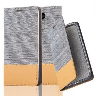 Cadorabo Hülle für LG K4 2017 in HELL GRAU BRAUN - Handyhülle mit Magnetverschluss, Standfunktion und Kartenfach - Case Cover Schutzhülle Etui Tasche Book Klapp Style