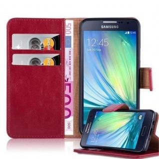 Cadorabo Hülle für Samsung Galaxy A3 2015 in WEIN ROT ? Handyhülle mit Magnetverschluss, Standfunktion und Kartenfach ? Case Cover Schutzhülle Etui Tasche Book Klapp Style