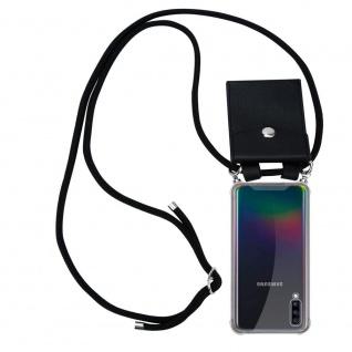 Cadorabo Handy Kette für Samsung Galaxy A70 in SCHWARZ - Silikon Necklace Umhänge Hülle mit Silber Ringen, Kordel Band Schnur und abnehmbarem Etui - Schutzhülle
