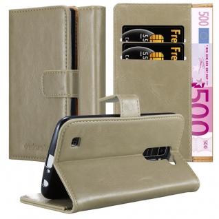 Cadorabo Hülle für LG K10 2016 in CAPPUCCINO BRAUN ? Handyhülle mit Magnetverschluss, Standfunktion und Kartenfach ? Case Cover Schutzhülle Etui Tasche Book Klapp Style