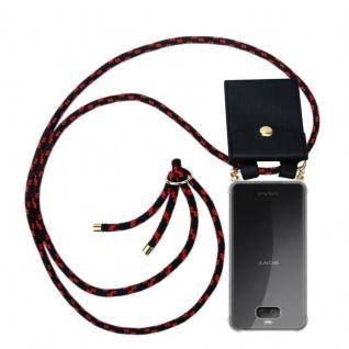 Cadorabo Handy Kette für Sony Xperia 10 PLUS in SCHWARZ ROT Silikon Necklace Umhänge Hülle mit Gold Ringen, Kordel Band Schnur und abnehmbarem Etui Schutzhülle