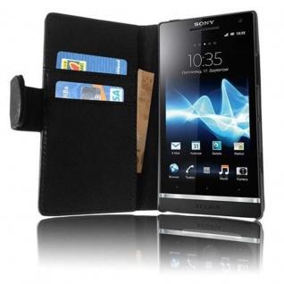 Cadorabo Hülle für Sony Xperia S in KAVIAR SCHWARZ - Handyhülle aus glattem Kunstleder mit Standfunktion und Kartenfach - Case Cover Schutzhülle Etui Tasche Book Klapp Style - Vorschau 4