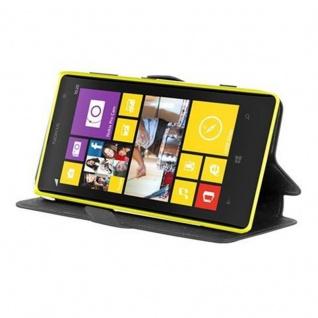 Cadorabo Hülle für Nokia Lumia 1020 - Hülle in ICY SCHWARZ - Handyhülle mit Standfunktion und Kartenfach im Ultra Slim Design - Case Cover Schutzhülle Etui Tasche Book