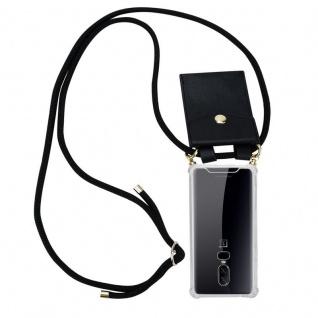 Cadorabo Handy Kette für OnePlus 6 in SCHWARZ Silikon Necklace Umhänge Hülle mit Gold Ringen, Kordel Band Schnur und abnehmbarem Etui Schutzhülle